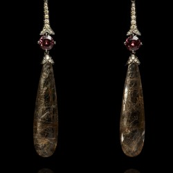 Annoushka One of a Kind 18K white gold, diamonds and rutilated Quartz earrings