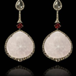 Annoushka One of a Kind 18K white gold diamond and rock crystal doublet Pink Opal earrings