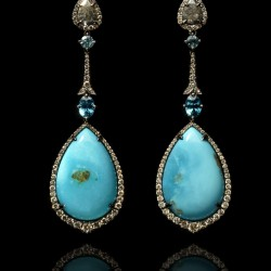 Annoushka One of a Kind 18ct white gold diamonds, mother of pearl and Apatite earrings