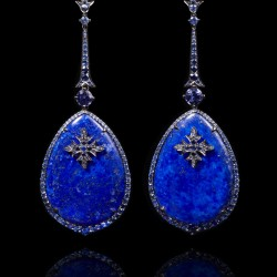 Annoushka One of a Kind 18K white gold, diamonds, Sapphire and Lapis earrings