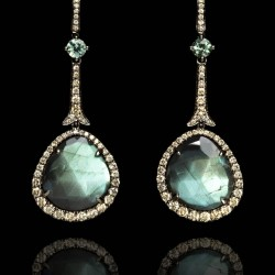 Annoushka One of a Kind 18K white gold, diamonds and Labradorite earrings