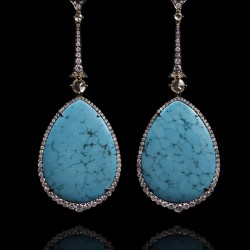 Annoushka One of a Kind 18K white gold diamond and Turquoise earrings