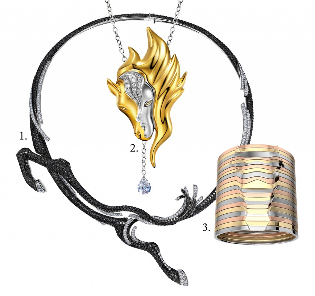 1. HU Zhensheng Le Bond necklace 2. LOU Xiaomeng The Horse Whisperer necklace 3. WU Yaoxing Le Cheval de Vastes Plaines cuff bracelet