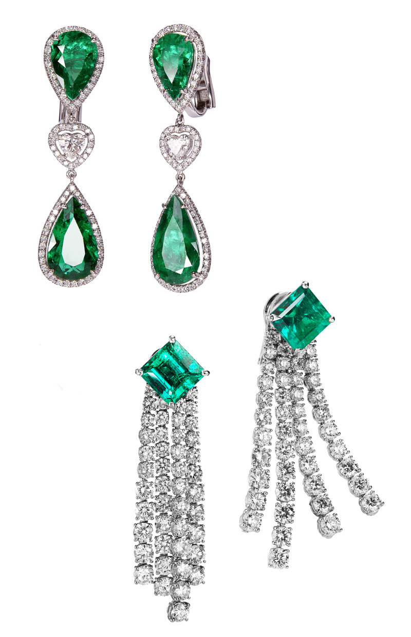 Emerald and diamonds earrings set in white gold, both by Adler