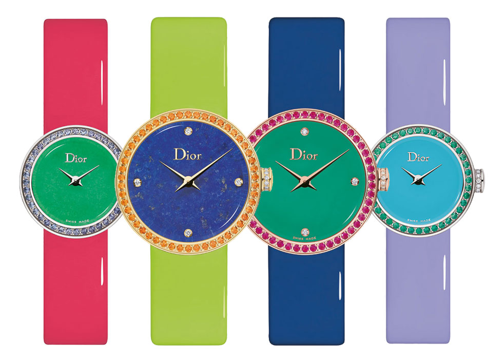 Multicoloured watches from the Granville collection by Dior Joaillerie