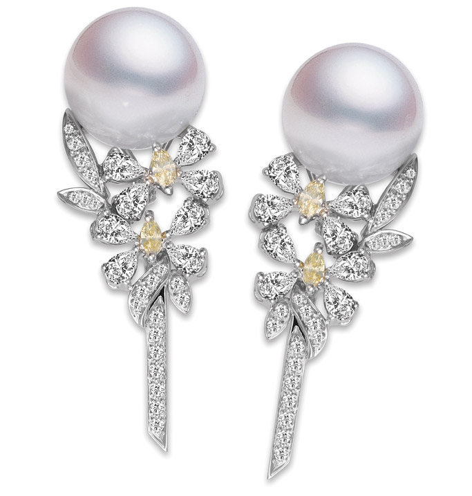 Mikimoto pearl earrings with white and yellow diamonds