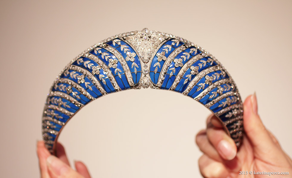 A BELLE ÉPOQUE ENAMEL AND DIAMOND TIARA, BY CHAUMET