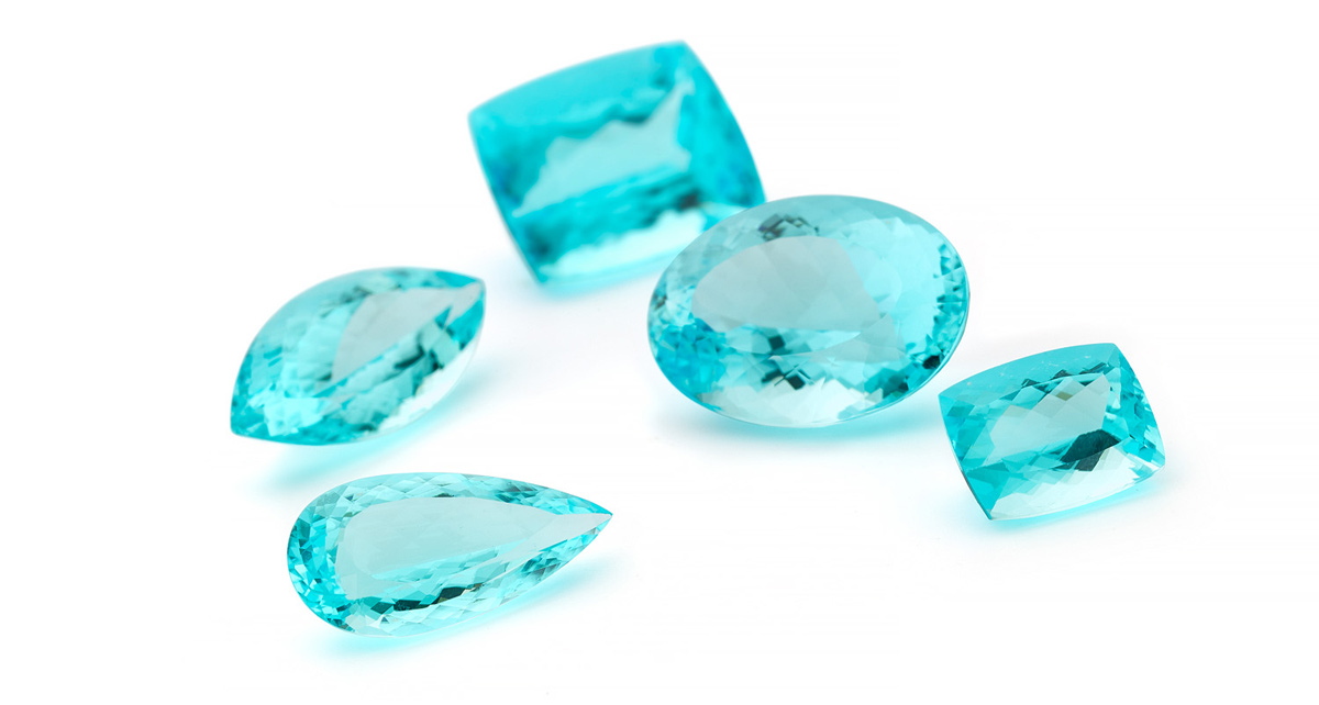 Paraiba tourmalines available at Jochen Leen