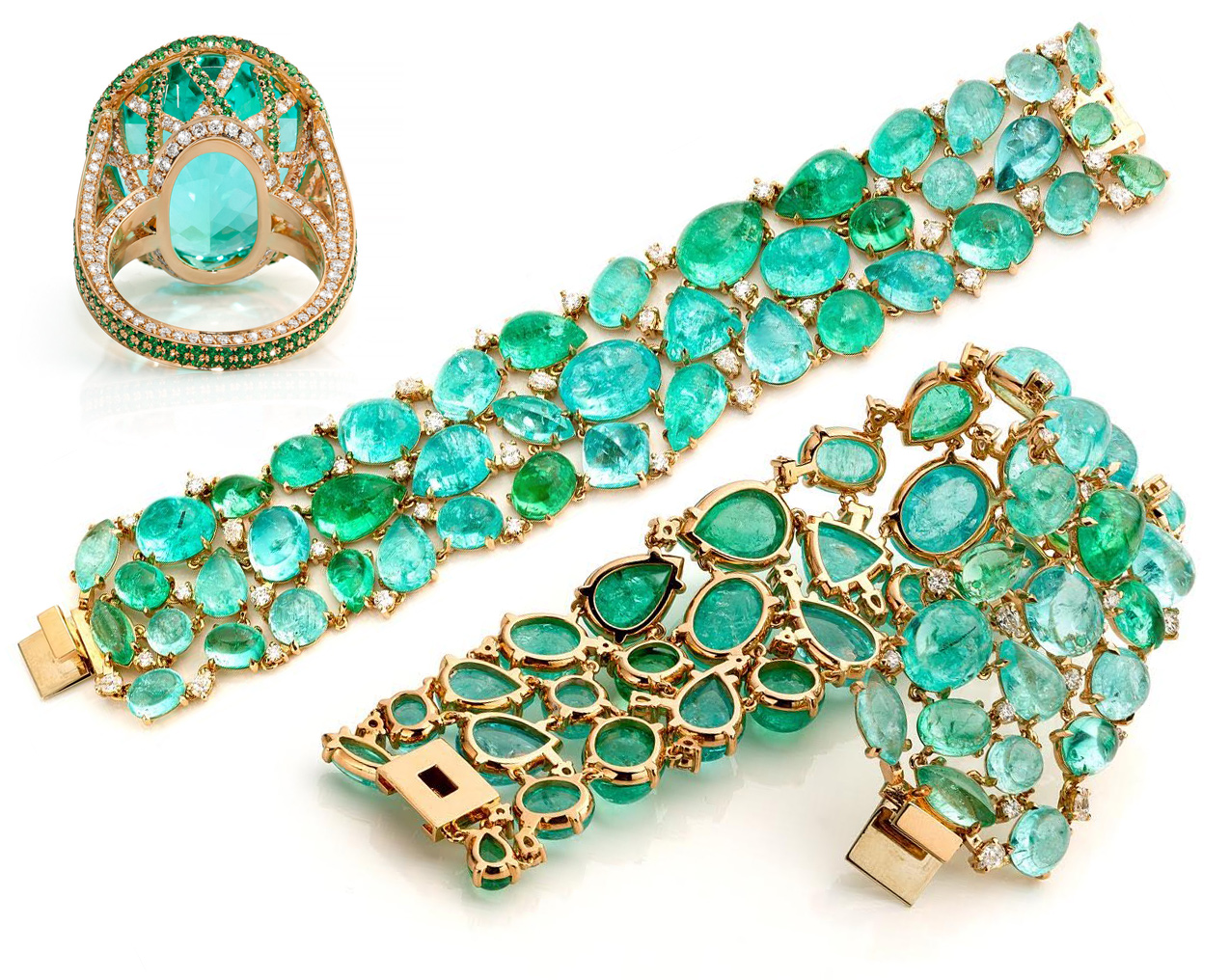 Jochen Leen bracelet with 200 cts of Paraiba tourmalines and diamonds