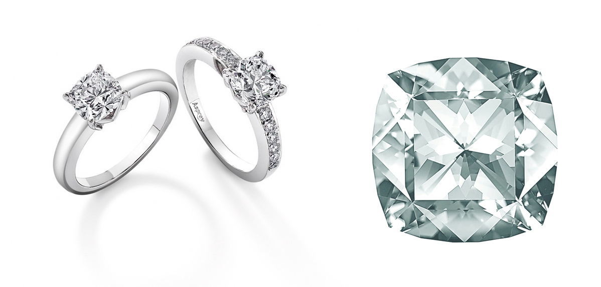 The Asprey cut created by Gabi Tolkowsky. Asprey rings and a faceted diamond