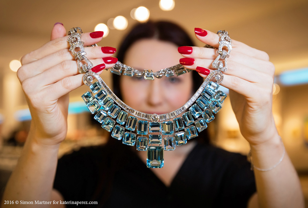 Necklace by Olga Tritt with aquamarines and diamonds, New York Circa 1939. Available at Wartski.