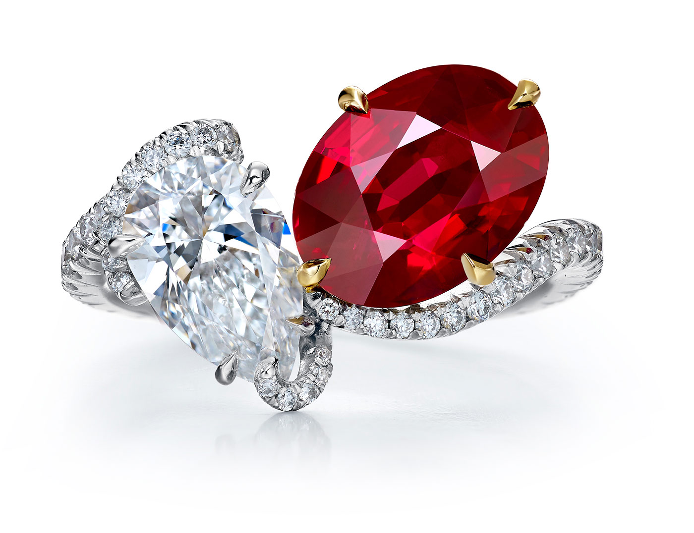 Faidee Burmese Ruby and diamonds ring