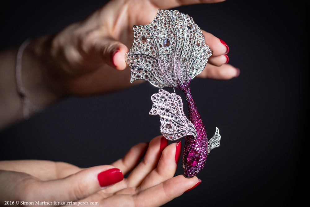 Michelle Ong diamond and pink sapphire fish brooch with 5.36 cts unheated Burmese ruby