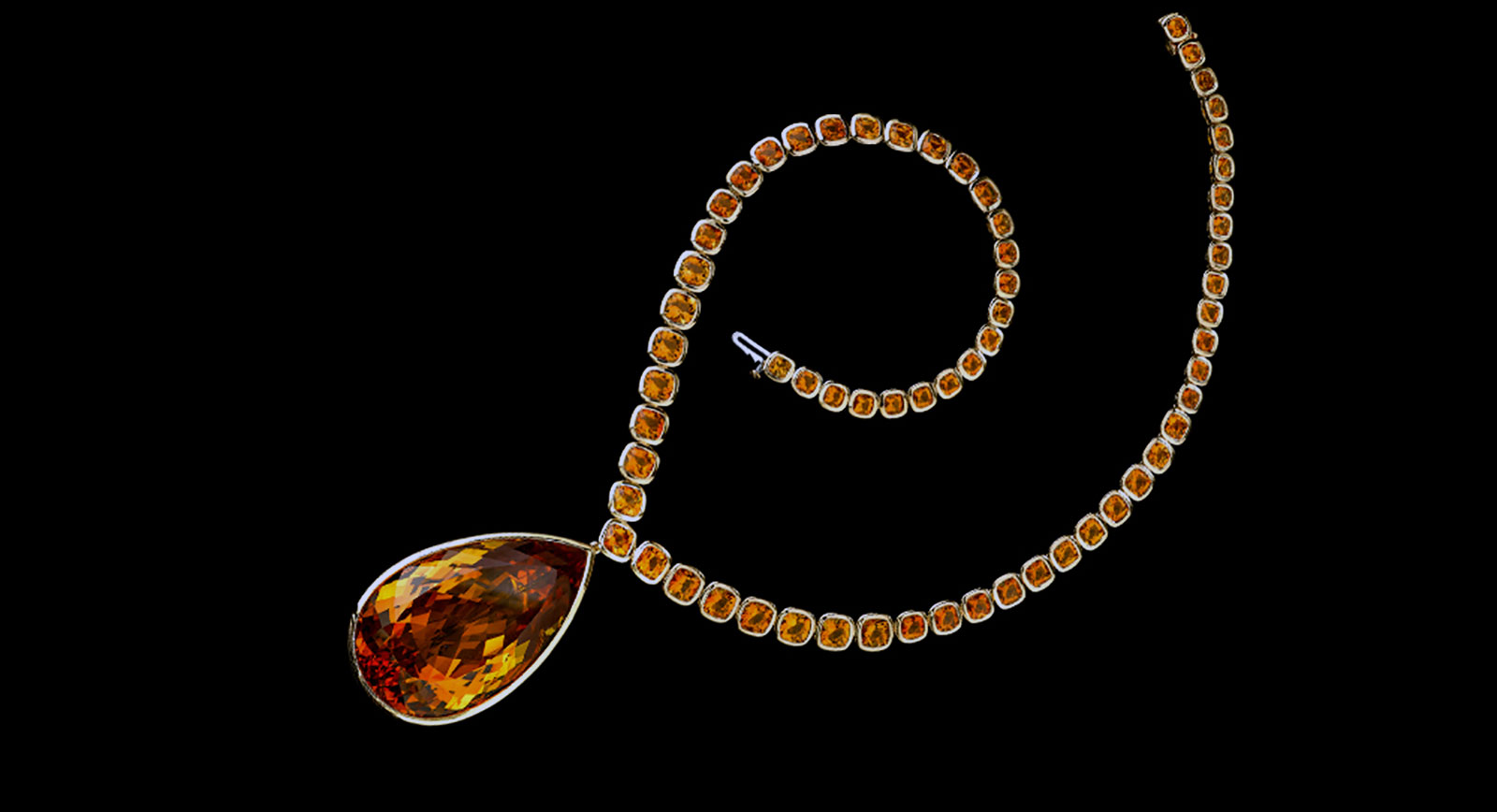 Robert Procop and Angelina Jolie necklace with 177.11-carat pear-shaped citrine drop