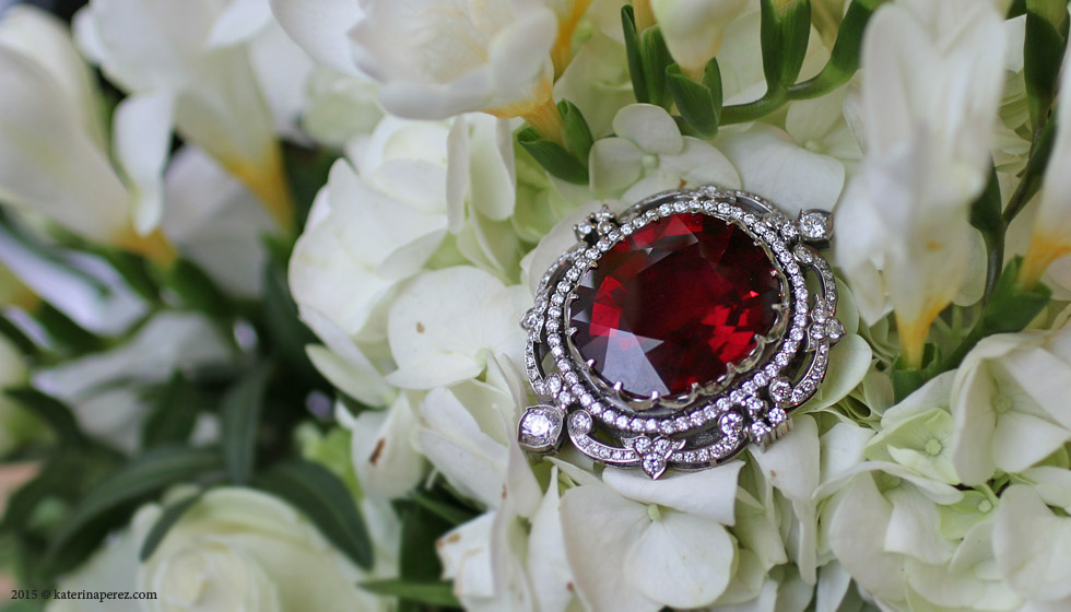 A 56 CTS RUBELLITE TOURMALINE AND DIAMOND BROOCH