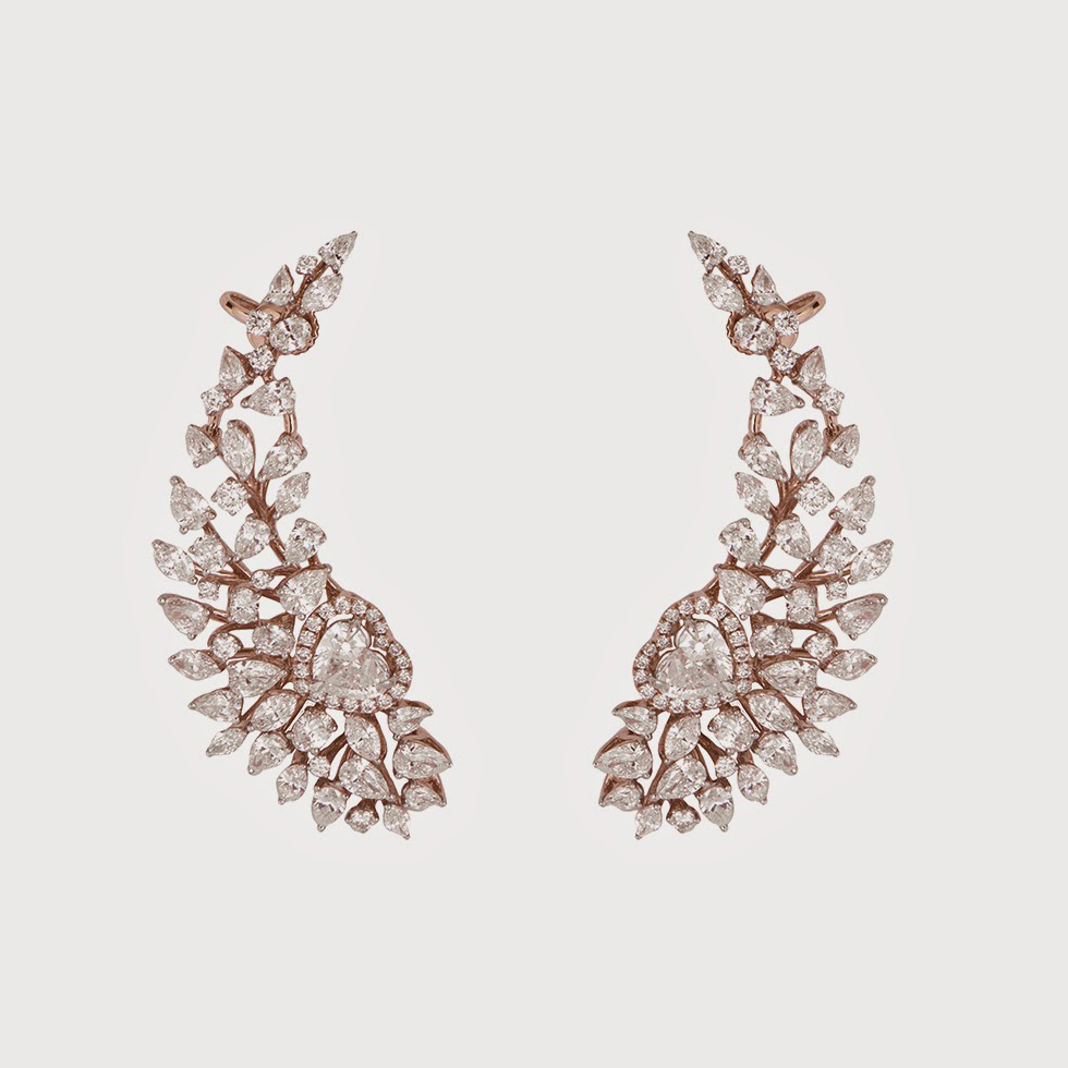 Forevermark ear cuffs with 19.31 cts of diamonds set in rose gold
