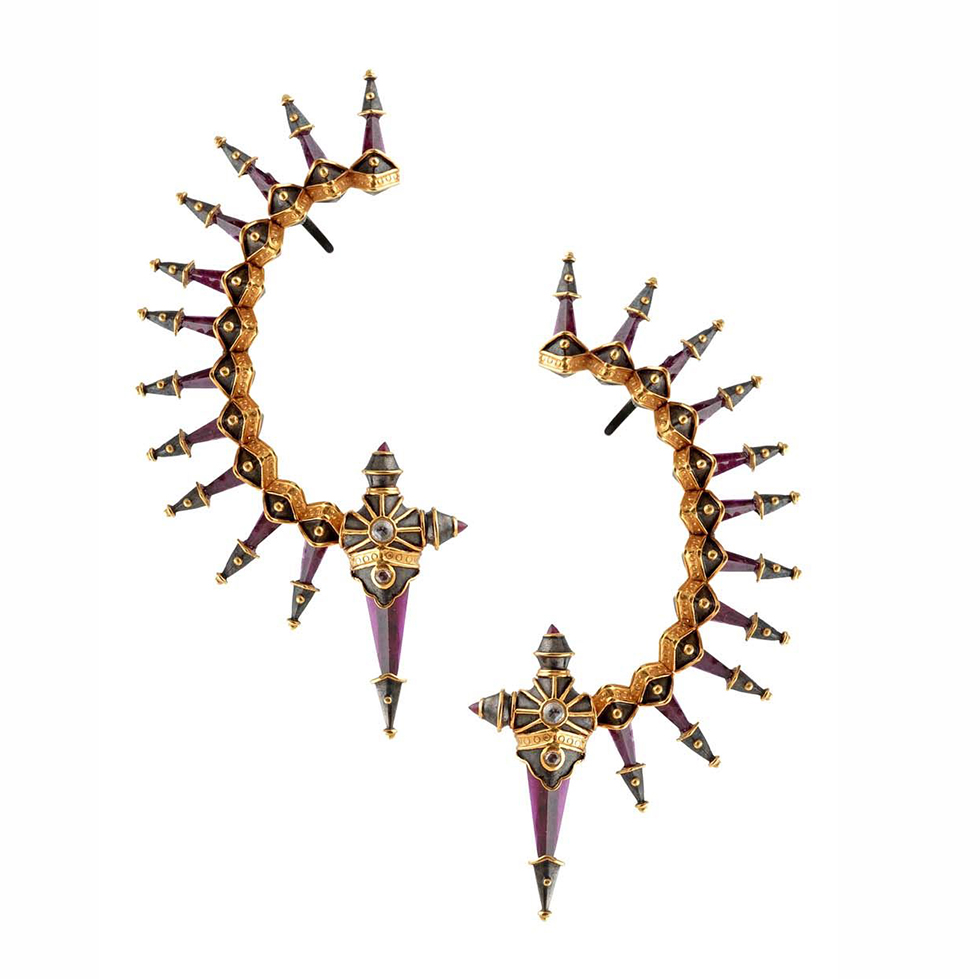 Amrapali Dark Maharadja ear cuffs with rubies and diamonds set in yellow gold