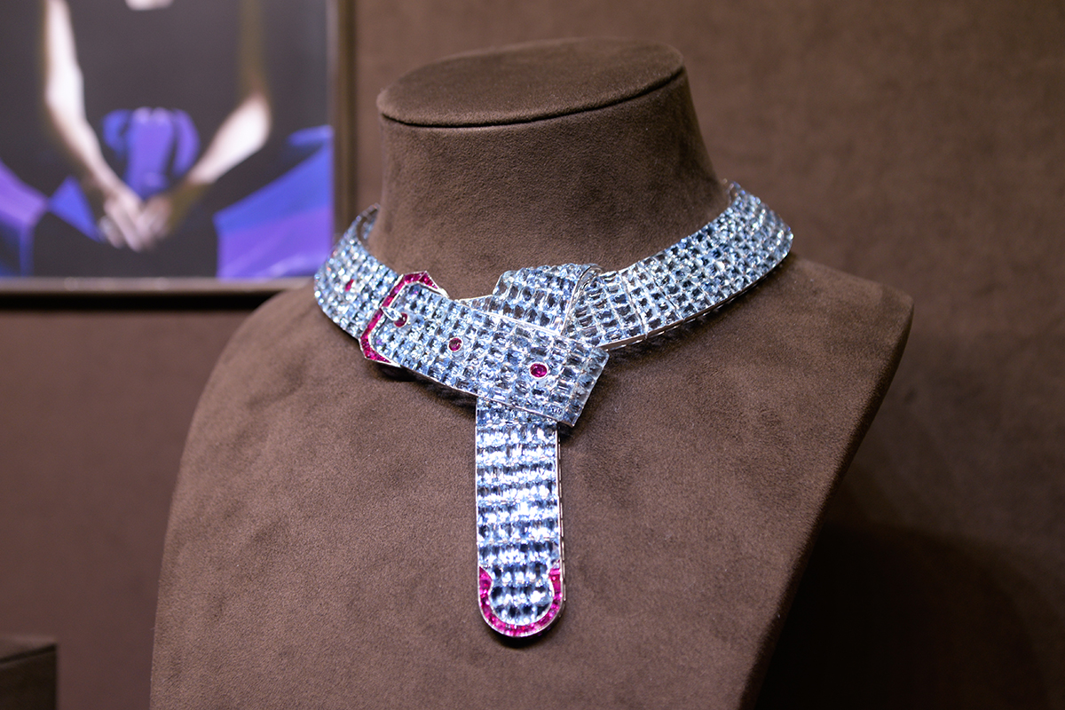 An aquamarine and ruby belt which is an iconic piece designed by Fulco, Duke of Verdura, for Paul Flato circa 1935
