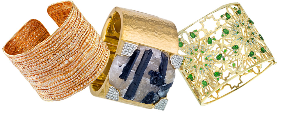 From left to right: Etho Maria rose gold and diamonds cuff; Jorge Adeler gold cuff with a raw tourmaline and diamonds; Octium 18k yellow gold Interlocking cuff with light blue topaz, chrome diopside and diamonds