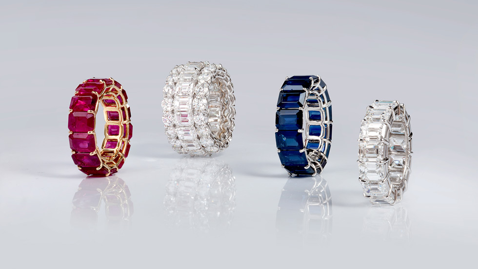 Bayco eternity rings with sapphires, rubies and diamonds