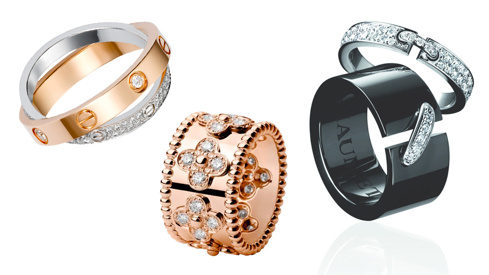 From left to right: Cartier Love rings in white and rose gold; Van Cleef&Arpels Alhambra band ring in rose gold; Chaumet Liens rings in black ceramic and white gold with diamonds