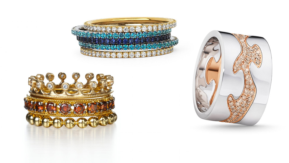 Left to right: Annoushka stacking rings in yellow gold, Martin Katz stacking bands with sapphires, diamonds and paraiba tourmalines, Georg Jensen stacking rings in white and rose gold with diamonds