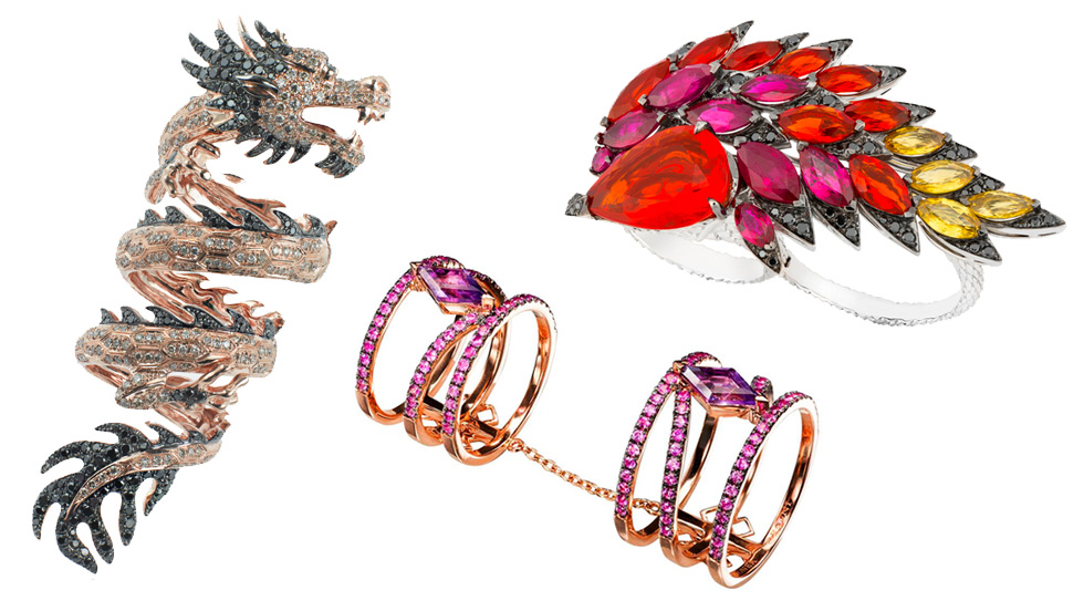 From left to right: Elise Dray Dragon full-finger ring in rose gold with black diamonds; Dionea Orcini Linee Misteriose double cage ring with pink sapphires and amethysts; Stephen Webster Magnipheasant two-finger ring