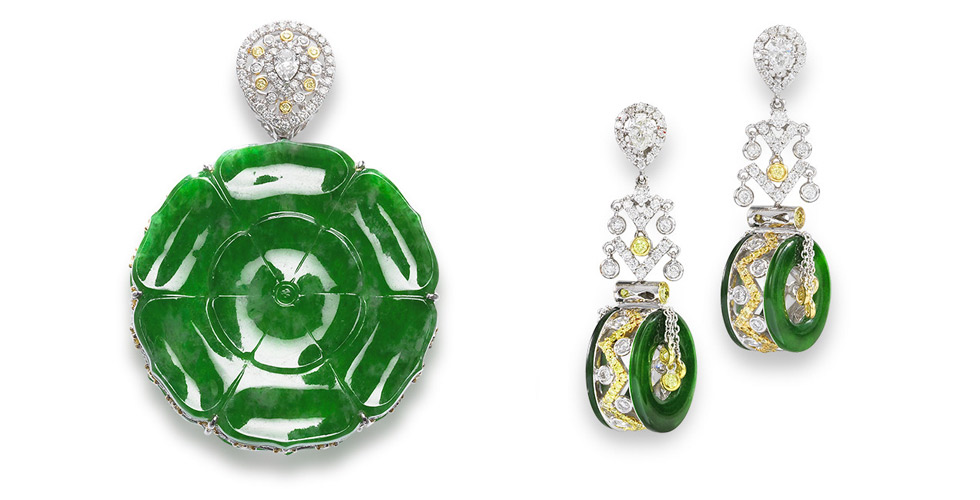 A jadeite, diamond and coloured diamond pendant and earrings suite with double-sided openwork. Jadeite plaques on the pendant are of intense green colour, each carved as a lotus. The pair of earrings en suite features jadeite white and yellow tint diamonds. Natural colour fei cui (jadeite jade) have no resin detected. Est. $ 10,000 – $ 15,000