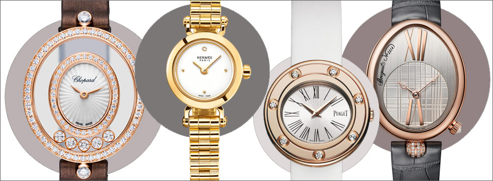 From left to right: Chopard Happy Diamonds Icon watch in rose gold with diamonds; Hermes Faubourg watch in yellow gold; Piaget Possession watch in rose gold with diamonds; Breguet Reine De Naples watch in rose gold and diamonds