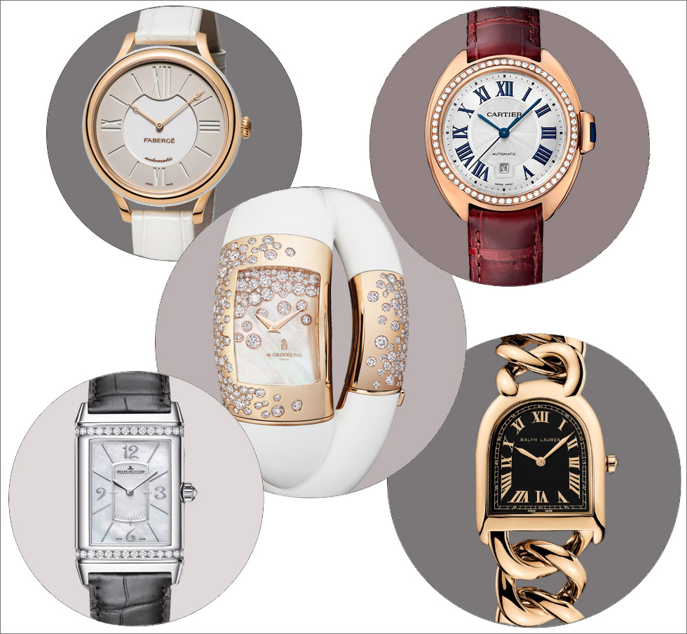 Top to bottom left to right: Fabergé Lady Fabergé 36mm watch in rose gold; Clé de Cartier watch in rose gold and diamonds; de Grisogono Lovivi rose gold watch with diamonds and fossilised mammoth ivory; Jaeger LeCoultre Grande Reverso Lady Ultra Thin Duetto Duo watch in white gold with diamonds; Ralph Lauren Petite Link model in gold with black dial
