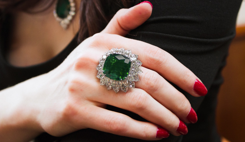 Cushion cut emerald and diamond ring by Bayco