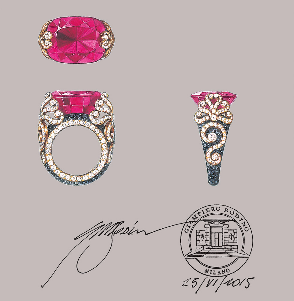 Giampiero Bodino bespoke order for a ring with a red spinel – 23.16 cts, black spinels and diamonds set in rose gold