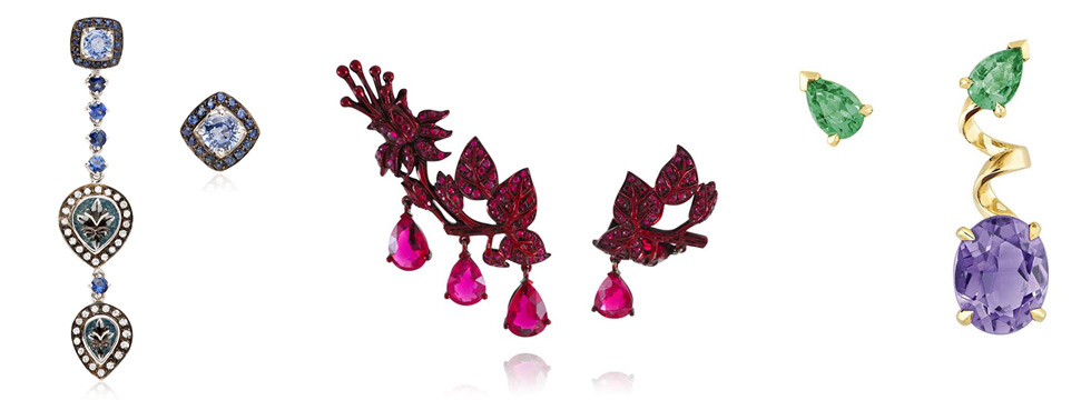 From left to right: Le Sibille Earrings with micromosaic and sapphires, Lydia Courteille The Scarlette Empress earrings, Dior Joaillerie Diorama earrings