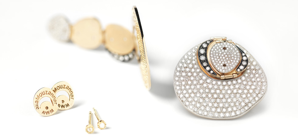 Alia Mouzannar for AW Mouzannar Modular earrings in yellow gold with diamonds