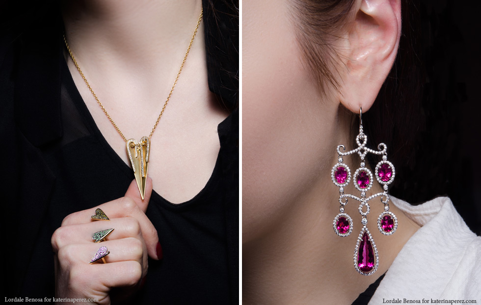 Left: Elena Votsi Eros collection pendant and a between-the-fingers ring; Right: Hammerman Brothers earrings with 21.50 cts rubellites and diamonds
