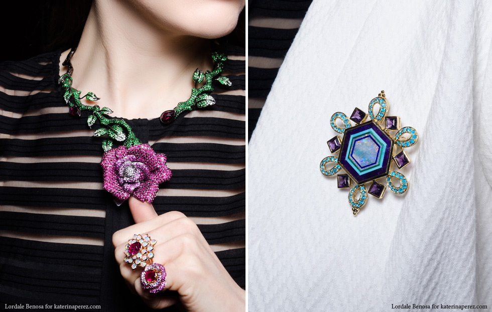 Left: Wendy Yue rose necklace; Right: Paula Crevoshay opal, lapiz, apatite and amethyst brooch created in collaboration with the master of inlay work Nikolay Medvedev