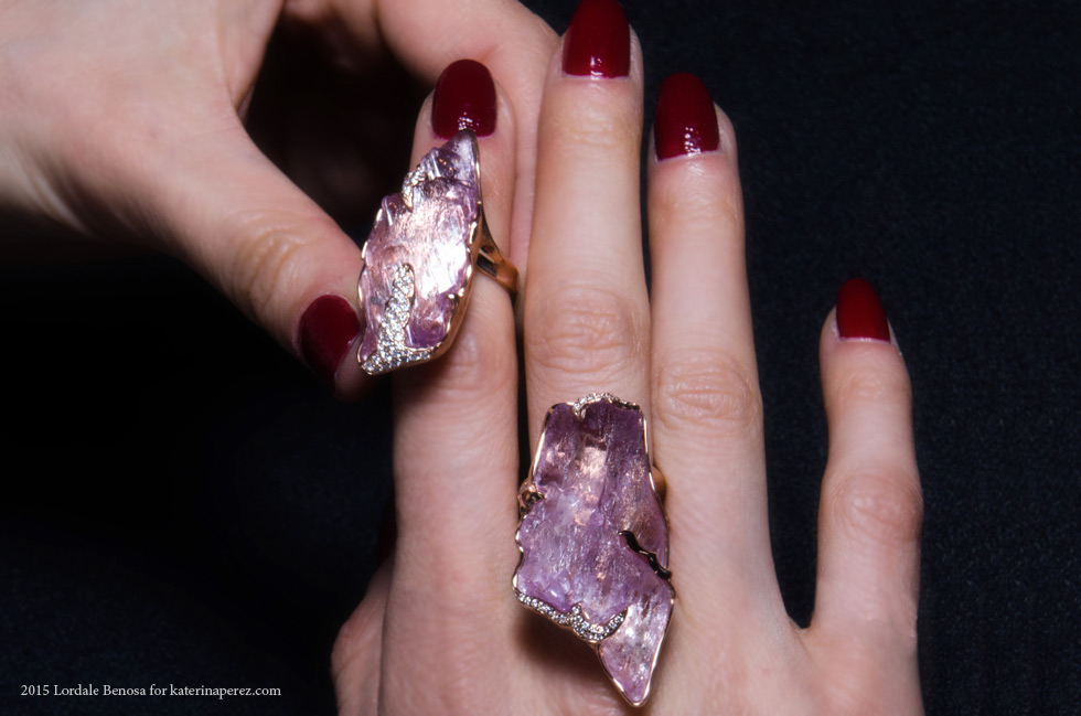 Jorge Adeler rings with a 36 cts and a 51.70 cts kunzite and diamonds