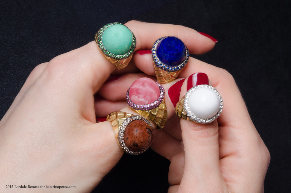 Gumuchian Ice Cream rings set in yellow gold with diamonds and multi-coloured hard stones