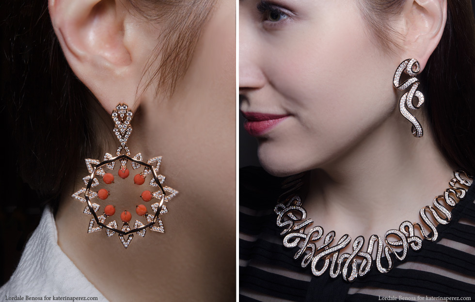 Left: Octium Sun collection earrings in rose gold with diamonds and coral; Right: New Italian Art Ribbon set in rose gold and enamel
