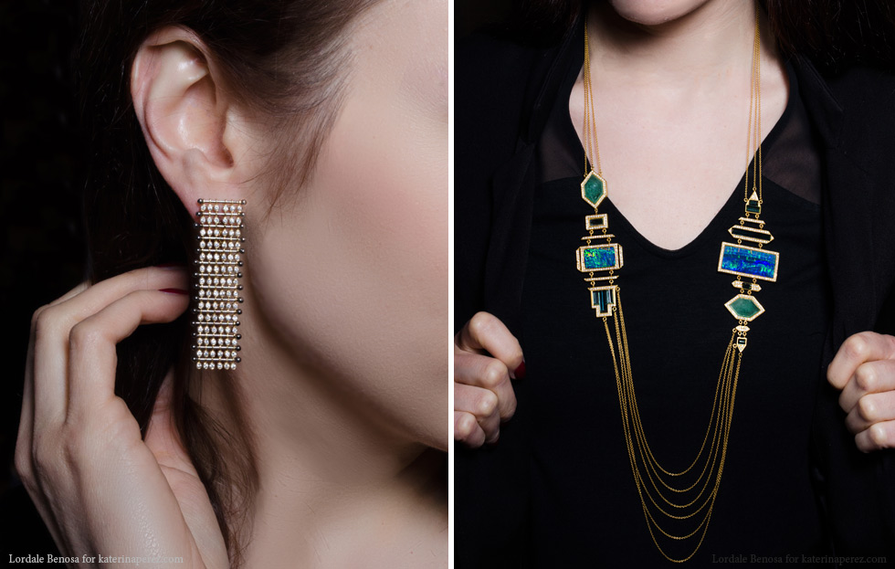 Left: Yannis Sergakis adornment earrings with diamonds from the Charnière collection; Right: Lauren Harper collection necklace with opals, green/blue tourmalines and diamonds