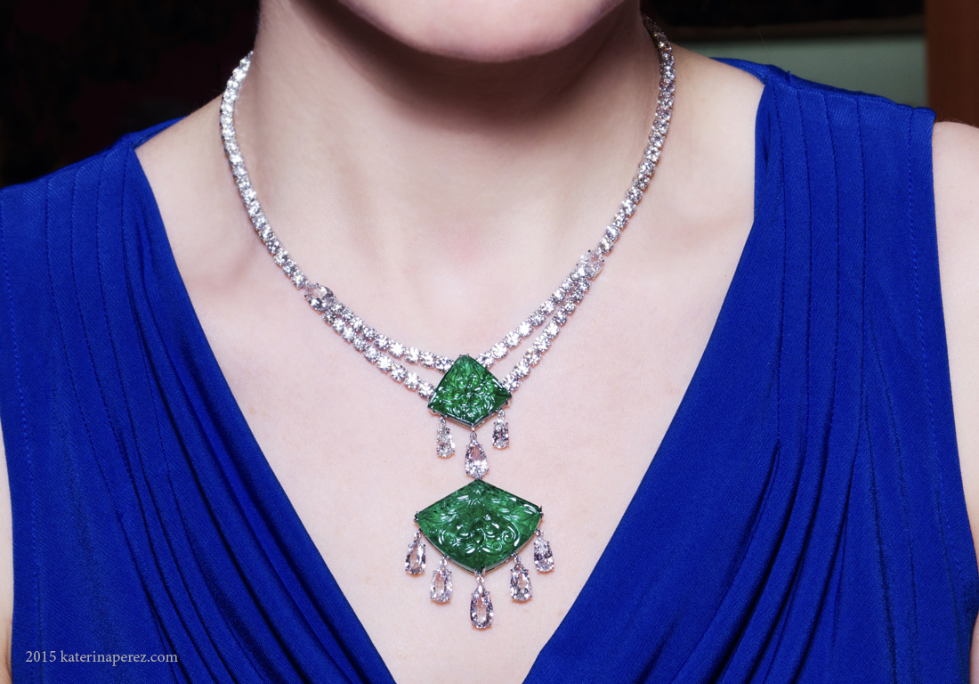 Bayco Moghul collection necklace with carved emeralds totalling 58cts and 112 diamond totalling 34 cts