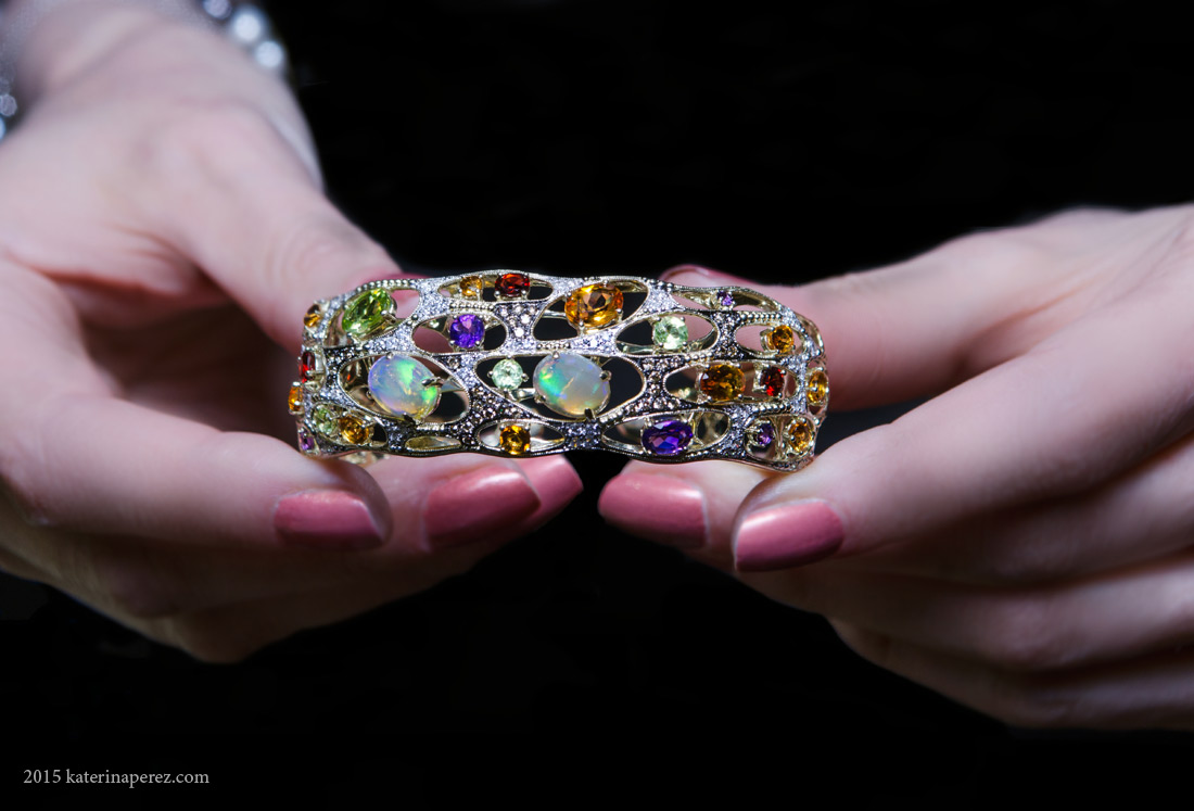 Dabakarov gold bracelet with white and cognac diamonds, topaz, peridots, opals, citrines, amethysts and garnets