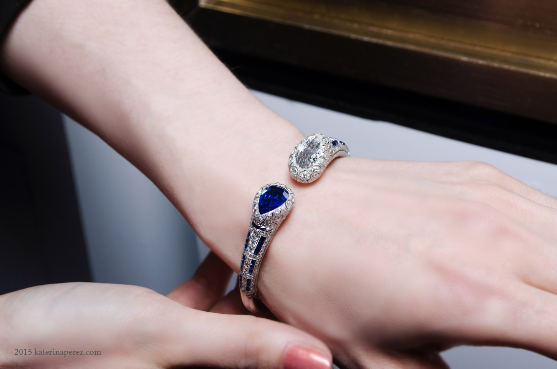 Van Cleef&Arpels bracelet with diamonds and sapphires available at Siegelson