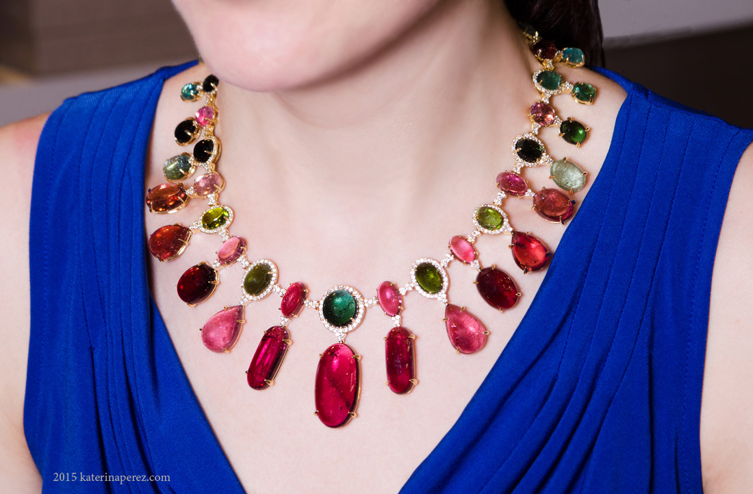 Vianna Colori Monti necklace with 299.5 cts of tourmalines and diamonds