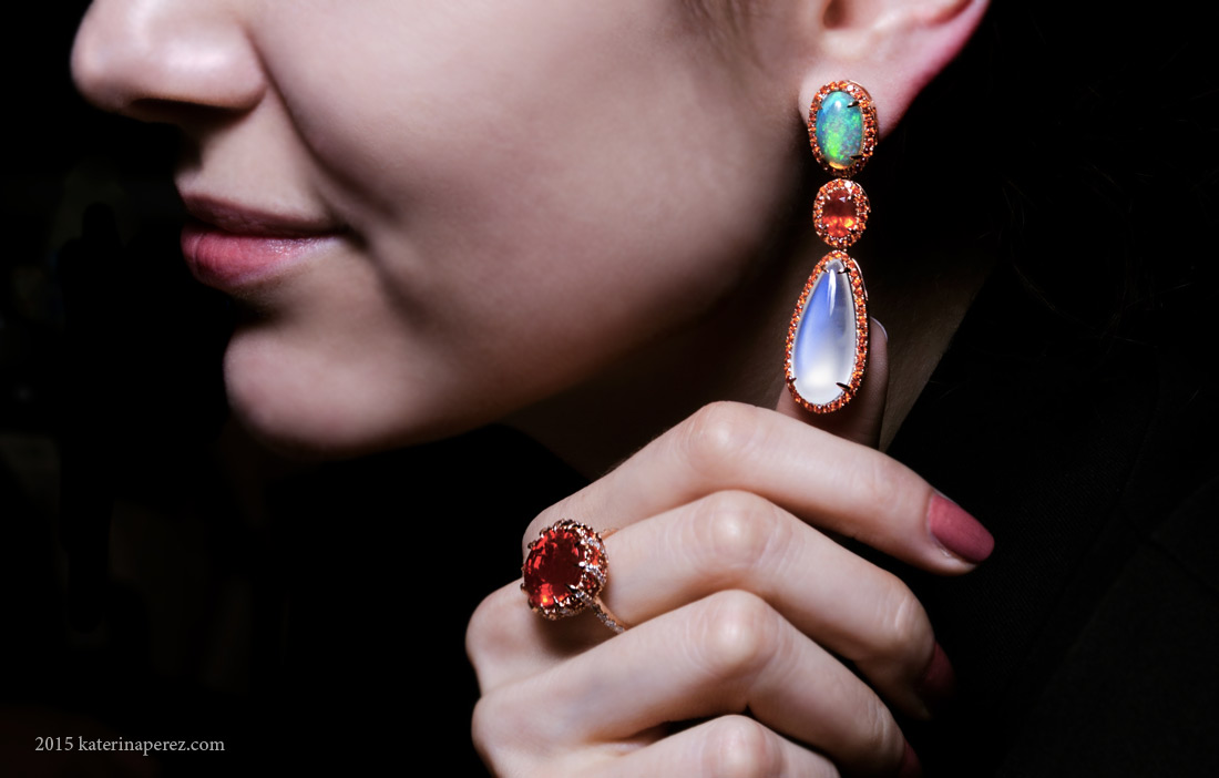 Yael earrings from Lyra collection with 1.71 cts fire opals, 23.50 cts moonstones and 4.74 cts moonstones