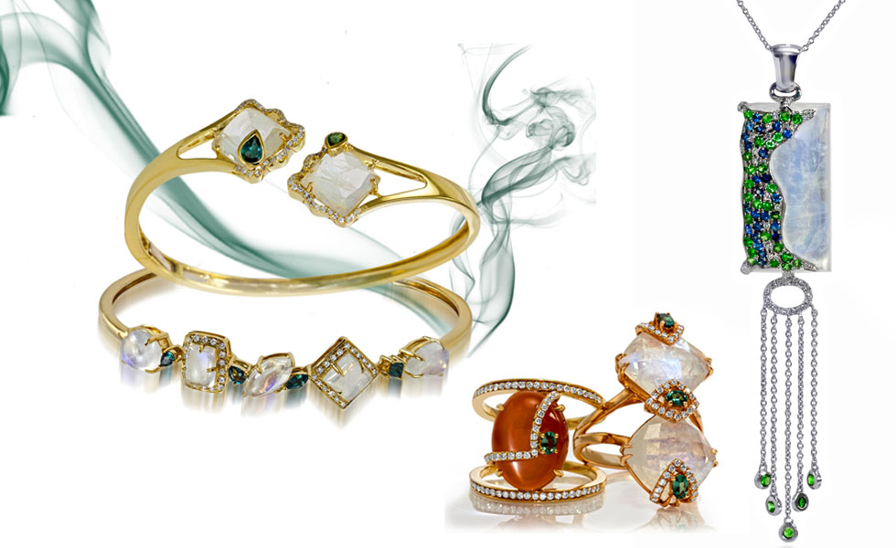 From left to right: Bangles with moonstones, alexandrites and diamonds; a ring with orange moonstone and a ring with a moonstone embellished with alexandrites and diamonds; Confetti necklace with a moonstone, tsavorites and sapphires