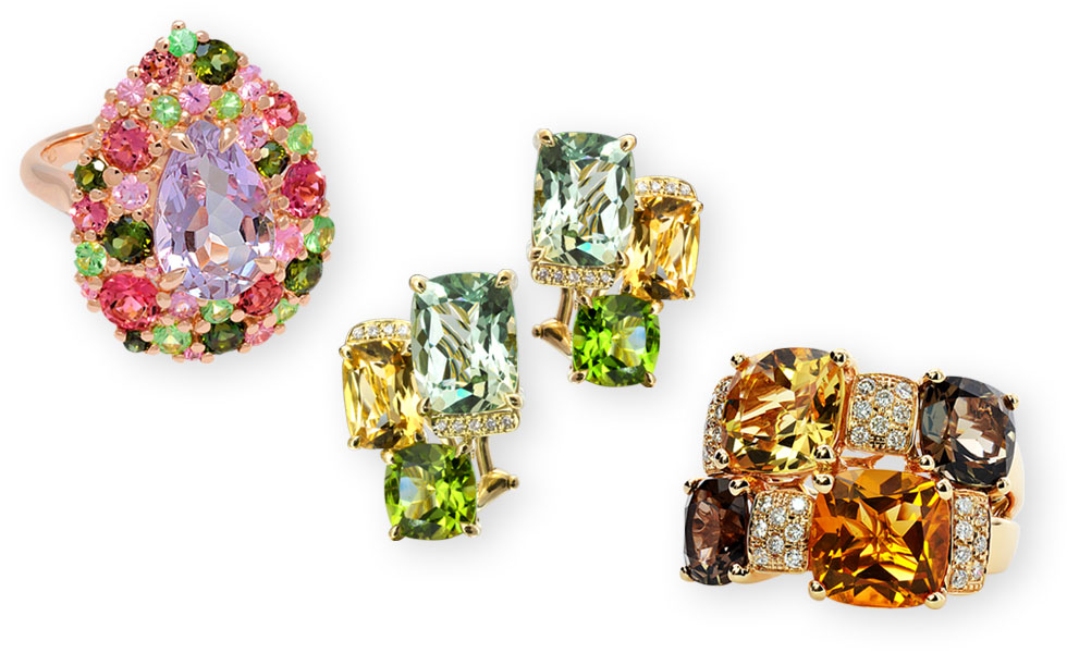 From left to right: Emotion ring with Rose de France, pink tourmalines, green tourmalines, tsavorites and pink sapphires set in rose gold; Mondrian earrings in yellow gold with pink quartz, citrines, peridots and diamonds; Pavés de Paris (Cobble Stones of Paris) ring in yellow gold with citrines, smoky quartz and diamonds