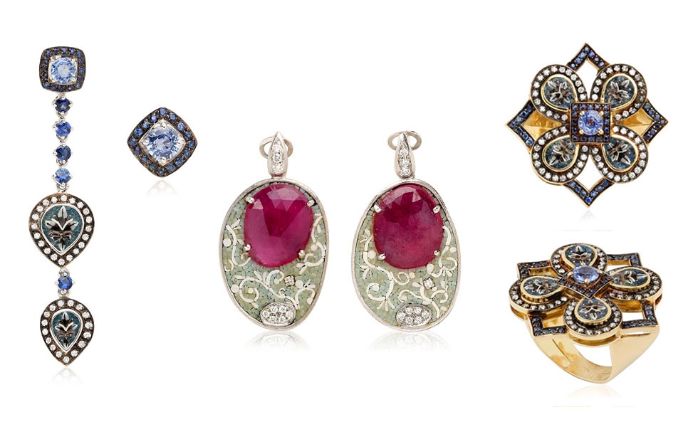 From left to right: Tabriz earrings with blue sapphires and diamonds; Micromosaic earrings with rubies and diamonds; Tabriz miscromosaic ring with sapphires and diamonds