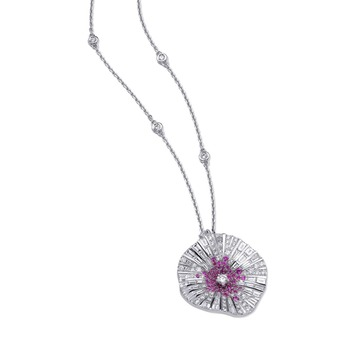 'Belle' pendant with colourless diamond and pink sapphire in 18k white gold
