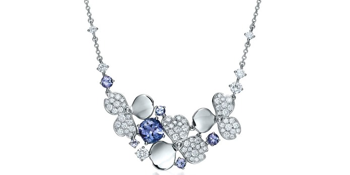 'Paper Flowers' necklace with diamond and tanzanite in platinum